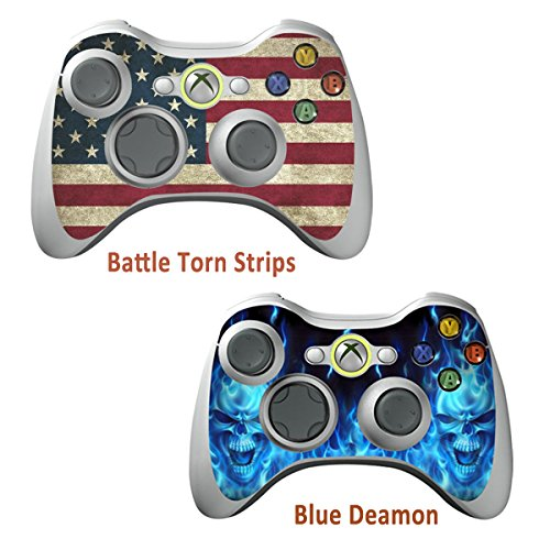 2pcs Skin Stickers for Xbox 360 Controllers - Vinyl Leather Texture Sticker Slim Game Controller - Protectors Stickers Controller Decal - Battle Torn Strip&Blue Daemon [ Controller Not Included ]
