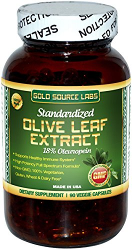 Olive Leaf Extract Capsules, Pure Organic Olive Leaf Plus Standardized Oleuropein Extract, 90 Vegetarian Caps, 400 mg Maximum Strength Complex