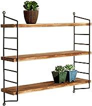 MyGift - Estante industrial de 3 niveles de metal y madera con acabado de soplete, ajustable, para instalarase