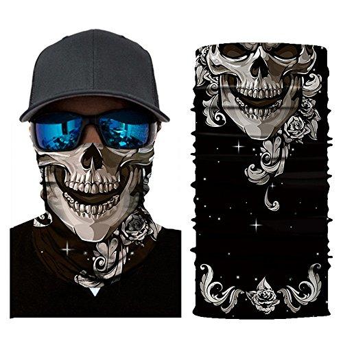 Glumes Face Mask Half Sun Dust Protection|Vivid 3D Tube Mask Seamless, Skull/Clown Design|Durable Face Mask|Bandana Skeleton Face Shield|Motorcycle Fishing Hunting Cycling Halloween Party -