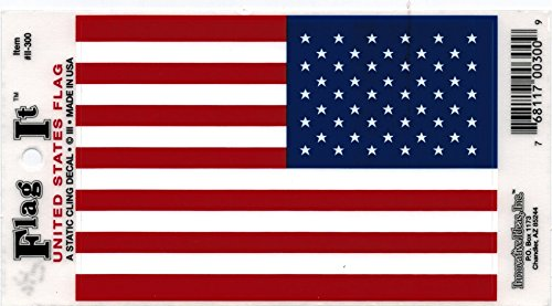 Flag Static Cling Decal - US Static Cling Flag Decal - 6 Pack
