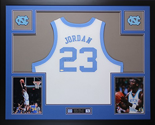 Michael Jordan Autographed White UNC Tar Heels Jersey - Beautifully Matted and Framed - Hand Signed By Michael Jordan and Certified Authentic by Auto PSA COA - Includes Certificate of Authenticity (Jordan Jersey Authentic)