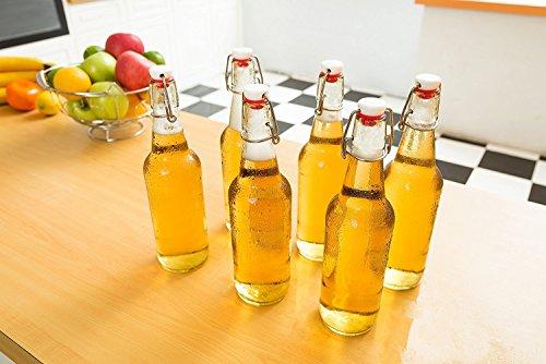 Swing Top Glass Bottles - Flip Top Brewing Bottles For Kombucha, Kefir, Beer - Clear Color - 16oz Size - Set of 6 - Leak Proof Easy Caps, Bonus Gaskets, Chalkboard Labels and Pen - Fast Clean Design by Otis Classic (Image #6)