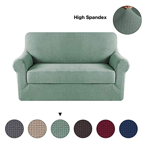 - Turquoize 2-Pieces Spandex Stretch Slipcover for Loveseat Sofa Covers Anti-Slip Couch Slipcover Highly Fitness (Loveseat,Dark Cyan)