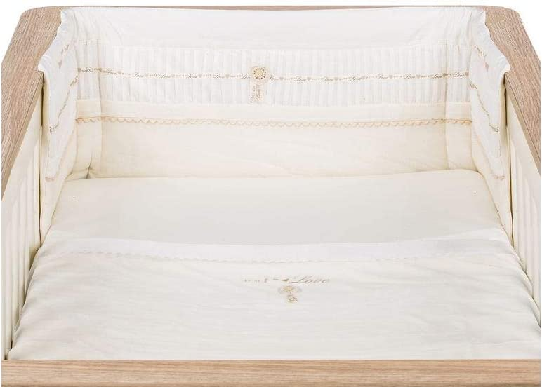Coverlet /& Fitted Sheet to Fit Cot//Cotbed Natures Purest Pure Love 3 Piece Bumper