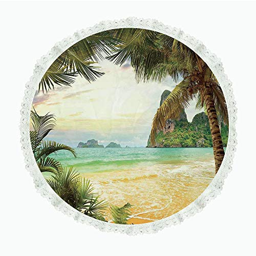yester Linen Tablecloth,Ocean,Palm Coconut Trees and Ocean Waves Across Mountains on Paradise Island Beach Image,Green Brown Cream,for Dinner Kitchen Home Decor ()