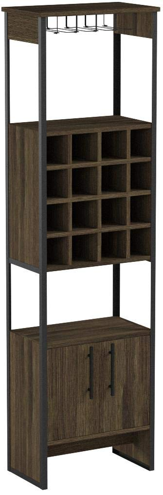 TUHOME Magnum Collection Free Standing Bar Cabinet/Wine Cabinet/Storage Cabinet with Steamware Wine Glass Rack 16 Wine Bottle Rack 2 Shelves and 1 Cabinet with Dark Weathered Oak Finish by TUHOME