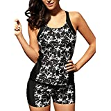 Dearlove Women Push up Tankini Top Swimsuit with High Waist Boyshort S-XXXL
