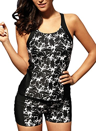 Dearlove Women Floral Print Racerback Tankini Top with Boyshort Swimsuit