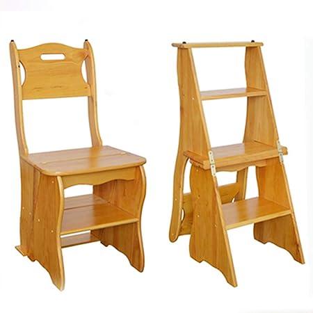 Taburete de madera alto lugares en cocina, baño, armario Taburete Escalera de madera Estante Escalera de tijera Ascenso de doble uso Multifuncional Estantería plegable Silla de escalera con 4 pasos: Amazon.es: Hogar