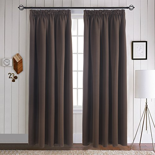 Aquazolax Energy Saving Window Curtains Blackout Drapes - Thermal Insulated Solid Blackout Curtains/Draperies for Living Room, 2 Pieces, 46x54, Toffee Brown from Aquazolax
