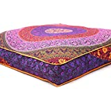 """Exclusive- Indian Mandala Square Floor Pillow Outdoor Ottoman Pouf Cover Meditation Throw Dog / Pets Bed 35"""""""