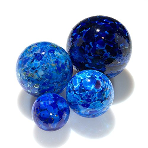 Blue Pond Floats Balls - 3 inches, 4 inches, 5 inches & 6 inches - Blown Glass - Made in Seattle - Dehanna Jones (Blown Glass Ball)