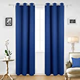 Deconovo Room Darkening Thermal Insulated Blackout Grommet Window Curtain Panel For Living Room, Royal Blue, 42x95 Inch, 1 Panel