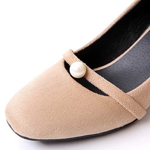 Khaki Nubuck Urethane Pumps Travel APL10830 Beaded Womens Shoes BalaMasa Zxq6S8Z