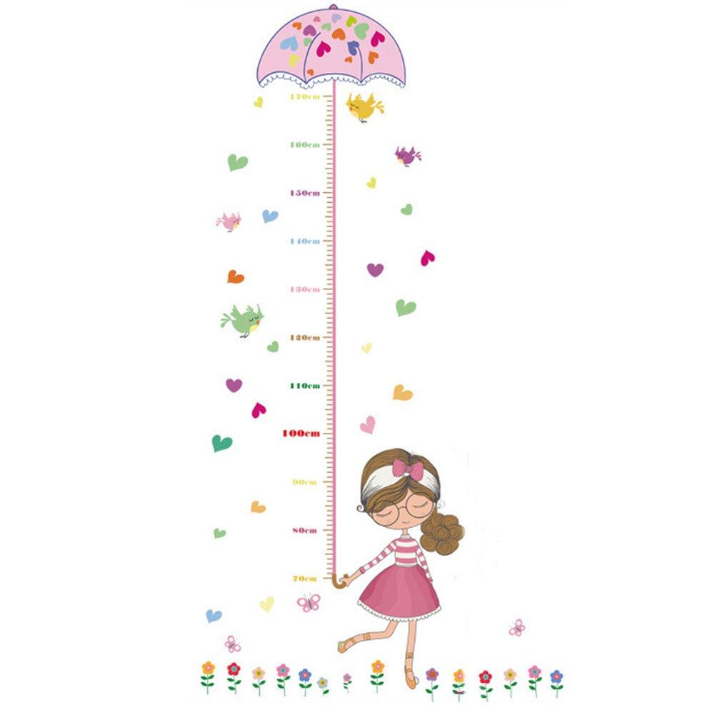 ENFANTS Toise Dessin animé Fille Bird Fleur Autocollant PVC Décoration murale à suspendre à mesurer règles pour enfants garçons filles Chambre Décoration chambre d'enfant amovible Hauteur et tableau de la croissance Greenlans