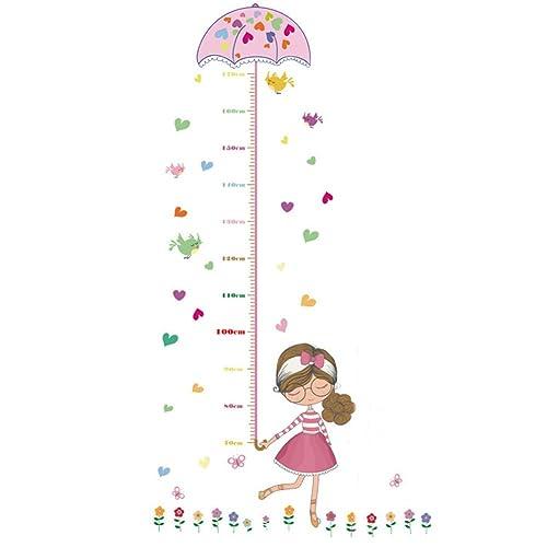 quanjucheer kids height growth chart sticker art cartoon girl wallpaper children bedoom decal pink