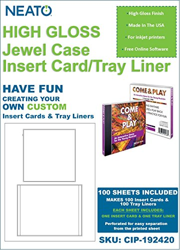 NEATO Glossy Jewel Case Insert/Tray Liner (1 Insert Card & 1 Tray Liner Per Sheet), 100 Total Sheets, CIP-192418 - with Online Design Access Code
