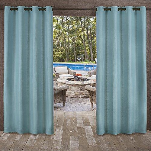 Exclusive Home Delano Heavyweight Textured Indoor/Outdoor Window Curtain Panel Pair with Grommet Top, 54x108, Teal, 2 Piece ()