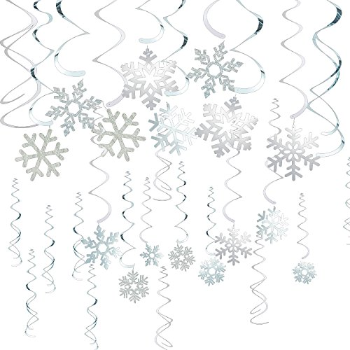 30-Pack of Snowflake Party Decorations - Hanging Christmas Decorations, Festive Decor for Xmas Season, Winter Wonderland Parties, Silver