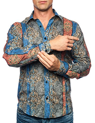 Michael & David Men's Designer Slim Fit Casual L/S Shirts Orange 2XL MD533