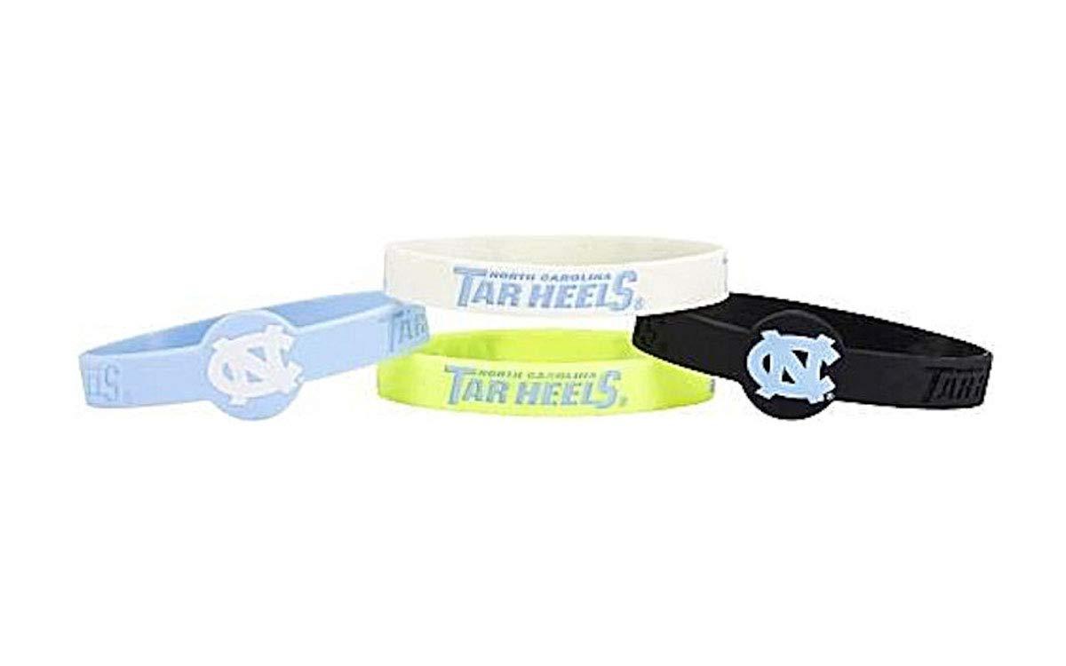 aminco NCAA North Carolina Tar Heels Silicone Bracelets 4-Pack