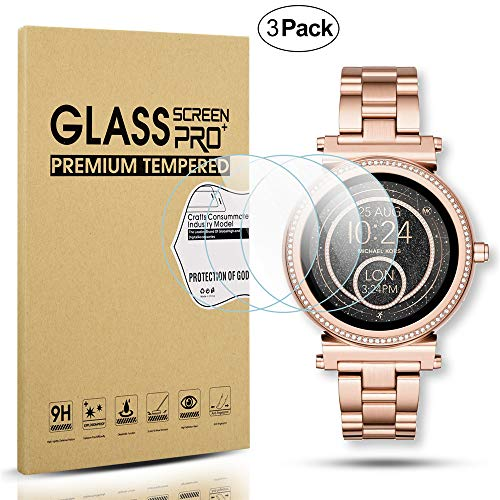 Diruite 3-Pack for Michael Kors Access Sofie Screen Protector, 2.5D 9H Hardness Tempered Glass Screen Protector for MKT5022 / MKT5036 Smart Watch - Permanent Warranty Replacement