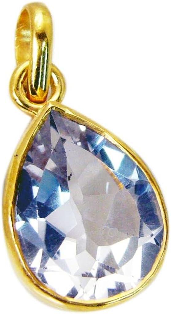 Gemsonclick - Colgante de cristal de cuarzo chapado en oro con gemas sueltas_GOCP151