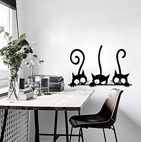 sasdasld Lovely 3 Black Cute Cats Wall Sticker Moder Cat Wall Stickers Girls Vinyl Home Decor Cute Cat Living Room Children Room 2030cm