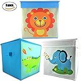 Rlan Toy Storage Bins Canvas Basket Toy organizer for kids (3, Lion, Cocodrile, Elephant)