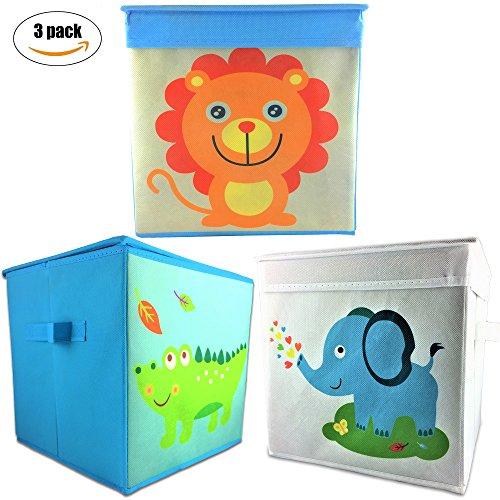 Rlan Toy Storage Bins Canvas Basket Toy organizer for kids (3, Lion, Cocodrile, Elephant) by Rlan
