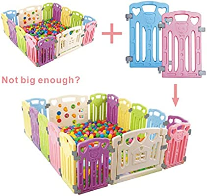 Baby Playpen Kids Activity Centre Safety Play Yard Baby Fence Play Area Baby Gate Home Indoor Outdoor New Pen Love Extra 2 Panels /…