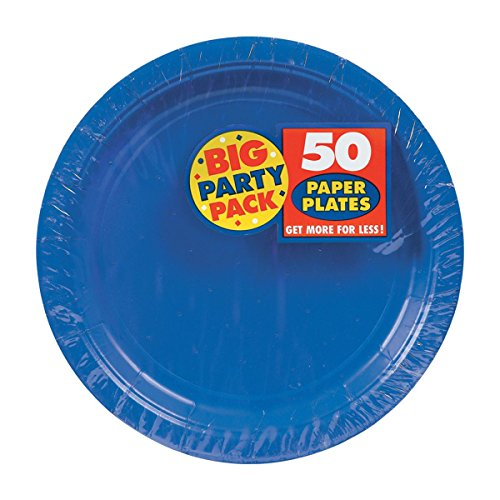 Amscan Royal Blue, Big Party Pack, Round Paper Plates 7