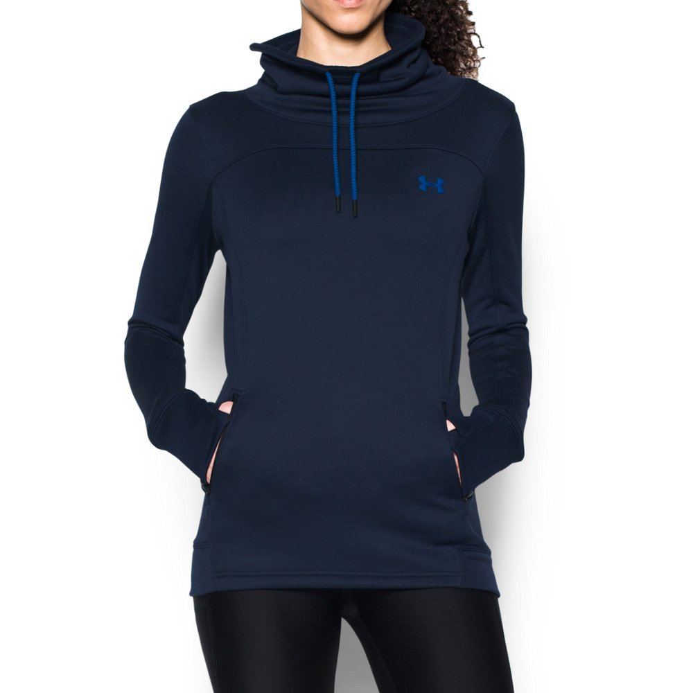 Under Armour Women's Featherweight Fleece Slouchy Popover, Midnight Navy (410)/Royal, Small