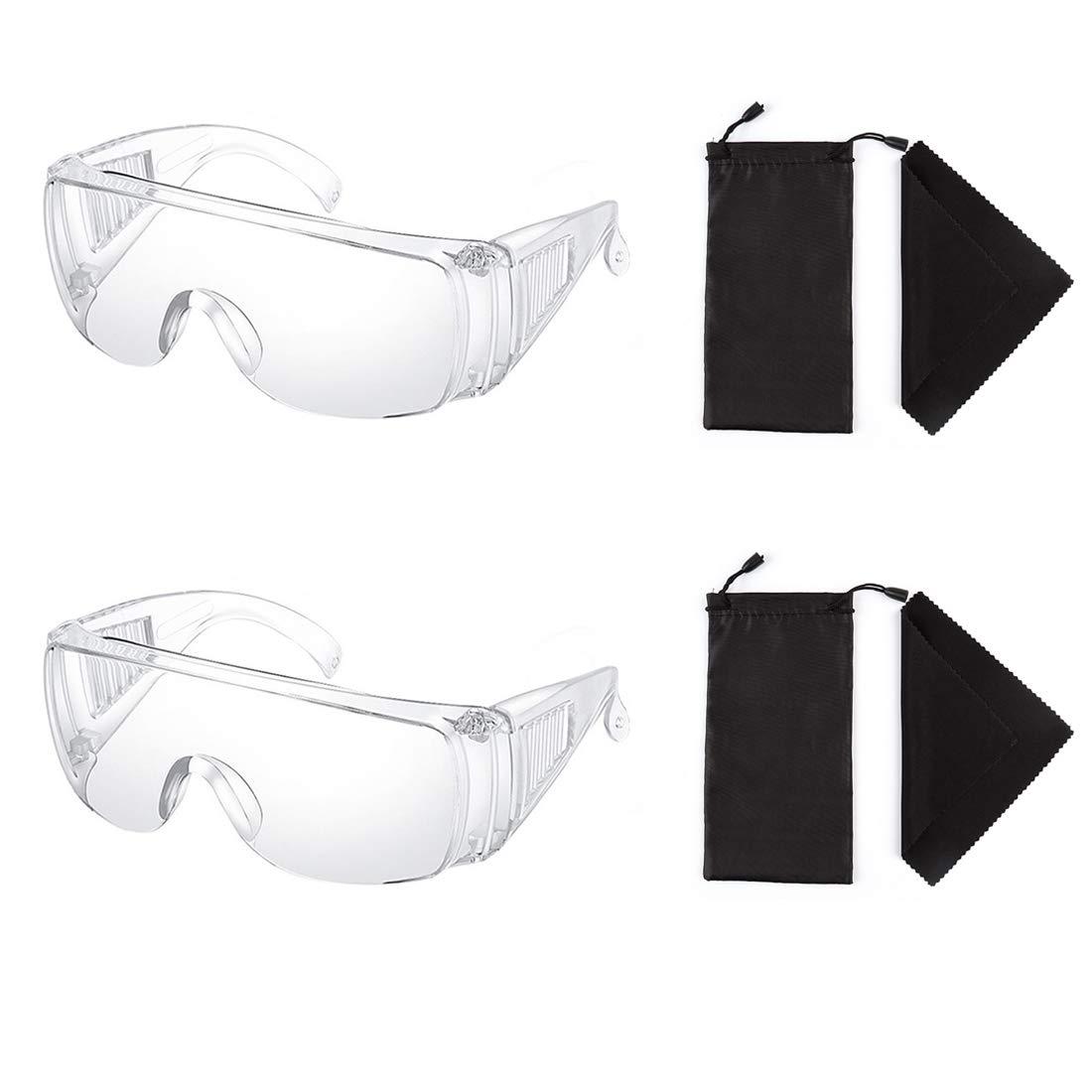 2 Piezas Claro Seguridad Lentes Personal Protector Equipo Transparente Adulto Encima Los anteojos Gafas de protección por Construcción, Laboratorio, Clase de quimica, con Lentes Bolso
