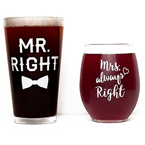 Funny Wedding Gift - Mr. Right and Mrs. Always Right Wine Glass & Beer Glass Set - Anniversary or Engagement Gift for Couples