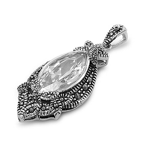 (Pendant Clear Simulated CZ Simulated Marcasite .925 Sterling Silver Charm - Silver Jewelry Accessories Key Chain Bracelet Necklace Pendants)