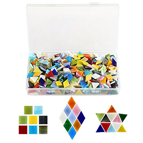 Kesoto 600pcs Mixed Color Mosaic Tiles Multicolored Mosaic Glass Cabochons for Home Decoration Crafts Supply, Square,Triangle, Rhombus by Kesoto