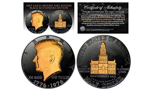 BLACK RUTHENIUM 1976 BICENTENNIAL KENNEDY HALF DOLLAR 24K...