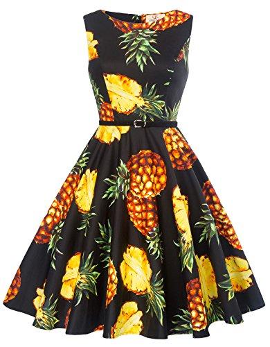 Hawaiian Party Dress (GRACE KARIN Pineapple Flower Print Wedding Dress Wear to Work Size XL)