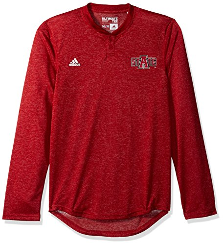 Adidas Ncaa Arkansas State Red Wolves Adult Men Logo L S Henley Tee Large Red