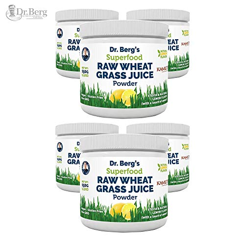 Dr Berg's Lemon Wheatgrass Green Powder with KamutTM - Organic Raw & Ultra-Concentrated Nutrients - Rich in Vitamins, Superfood, Chlorophyll & Trace Minerals (6 Pack)