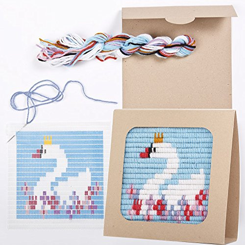 Sozo - Colorful DIY Needlepoint Embroidery Craft Kit for Beginners. Eco Friendly Package That Turns into a Display Frame, Easier Than Cross Stitch. Size - 8 x 8 (Swan)