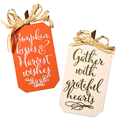Autumn Harvest Inspired Wood Sentiment Plaques. Orange, Cream and Black (3.5in.x 6.5 in. x .5 in.) - 3pc. Bundle