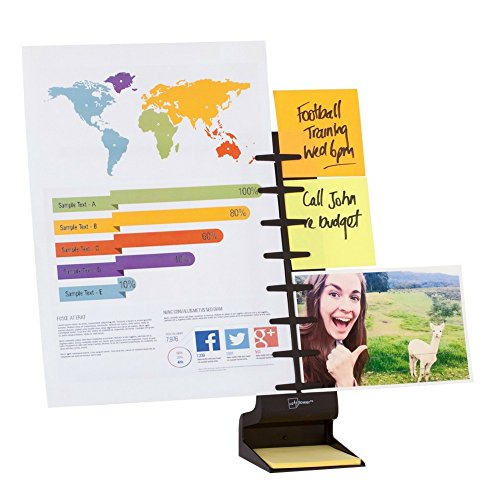 NoteTower Desktop Pro Black - Sticky Note Organizer and Paper Holder - Holds and Displays Copy Paper, Documents, Photos, Sticky Notes and Business Cards - Bonus 50 sheets 3x3 Sticky Notes