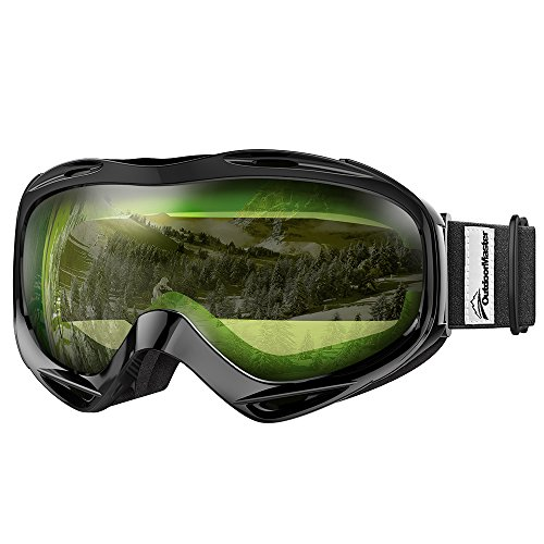 OutdoorMaster OTG Ski Goggles - Over Glasses Ski / Snowboard Goggles for Men, Women & Youth - 100% UV Protection (Black Frame + VLT 80% Light Green - Glasses Over The
