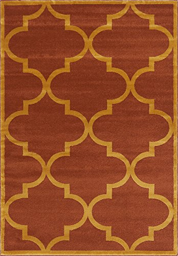 Unique Loom Trellis Collection Moroccan Lattice Terracotta Home Décor Area Rug (5' x 8')