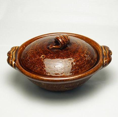 雲井窯 飴釉木の葉 6寸鍋