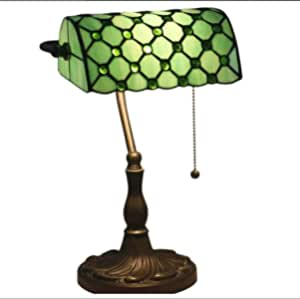 Tiffany Style Banker Table Lamp Vintage Colored Crystal Beads with Zinc Alloy Base for Study Bedroom Living Room Bedside Desk Lamp110-220V E27(27×39Cm) Green