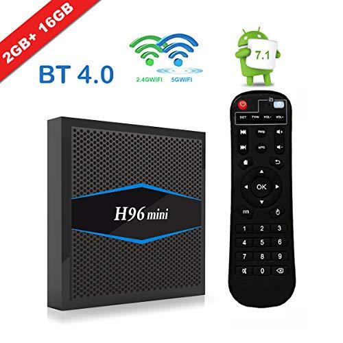[H96 Mini Android 7.1 TV Box] EstgoSZ Newest Version Android TV Box 2G 16G Amlogic CPU Support 2.4G/5G Dual Wifi/100M LAN/BT 4.0/3D /H265 4K Smart TV Box